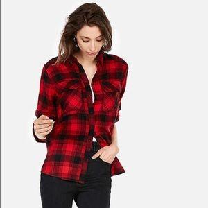 Express Plaid Flannel Oversized Two Pocket Boyfriend Shirt L Red Black